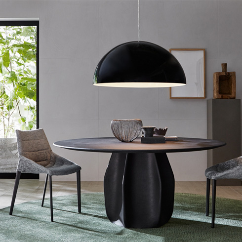 round table Molteni Asterias wood living room design